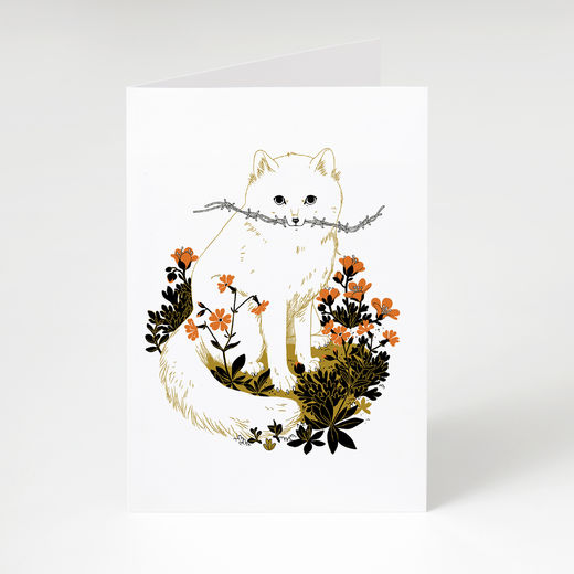 Escaped arctic fox card
