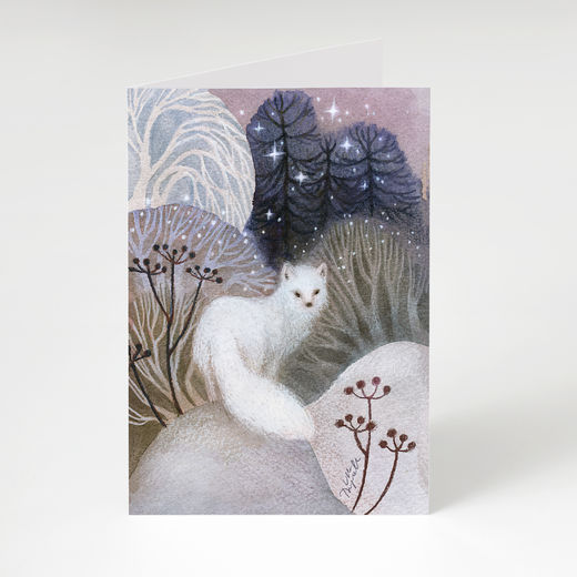Arctic fox in a winter scene card